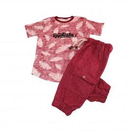تیشرت و شلوارک تابستانی پسرانه قرمز