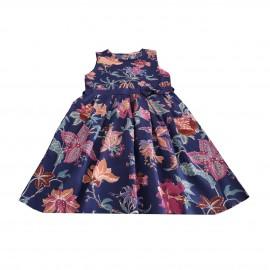 پیراهن دخترانه طرح گلدار آبی