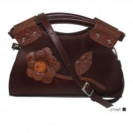 کیف زنانه دوشی و دستی چرم  طبیعی گلدار قهوه ای