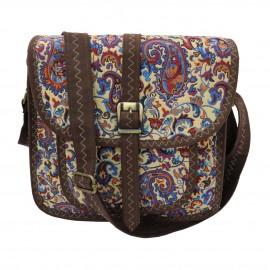 کیف زنانه سنتی دوشی قهوهای آبی