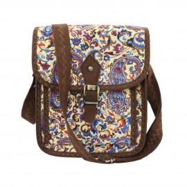 کیف زنانه سنتی دوشی قهوهای آبی کوچک