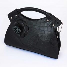 کیف زنانه دستی چرم طبیعی گلدار مشکی