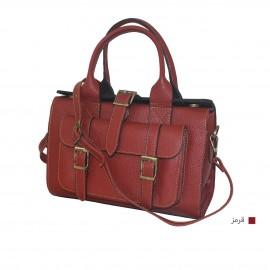 کیف زنانه دستی و دوشی صندوقی چرم طبیعی قرمز