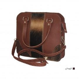 کیف زنانه دستی و دوشی دست دوز چرم طبیعی پوستی قهوه ای