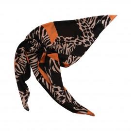 روسری طرح دار مدل خطی نارنجی طلایی